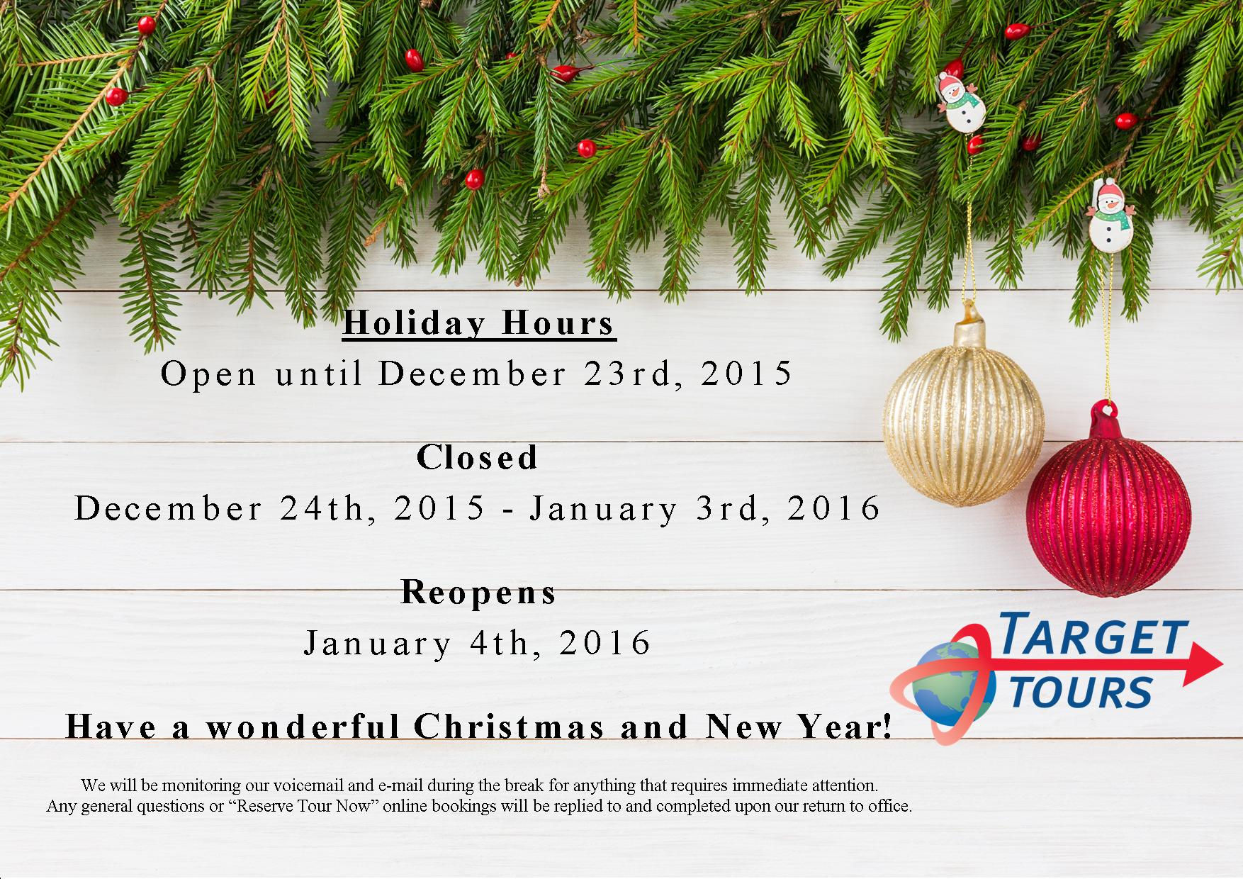 Holiday Message 2015 | Target Tours